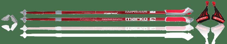 Палки для скандинавской ходьбы телескопические - QL (легко съемный темляк - с кнопкой) - красные
